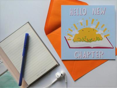 Hello New Chapter is perfect for a new job, new home, new baby, recent divorce... any congratulations! One card is £3.50 or three cards for £10.