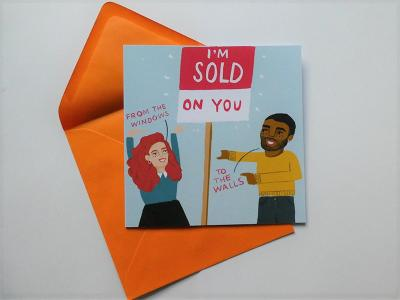 I'm Sold On You is a funny greeting card, perfect for your other half. One card is £3.50 or three cards for £10.