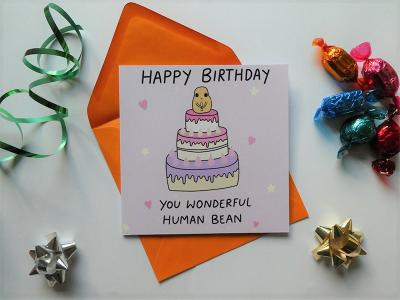 Happy Birthday You Wonderful Human Bean features Chazzle, the gender-fluid baked bean, serving you love and support since 2019. One card is £3.50 or three cards for £10.
